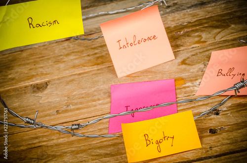 Valokuvatapetti Sticky notes against racism
