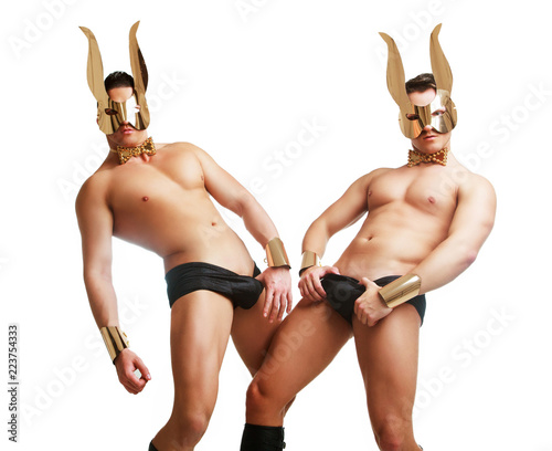 Fényképezés  striptease dancer wearing   face mask with rabbit ears