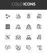 Outline black icons set in thin modern design style