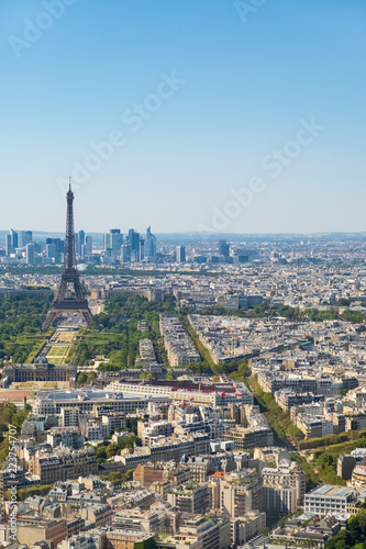 Photo  Paris skyline with Eiffel Tower, Les Invalides and business district of Defense,