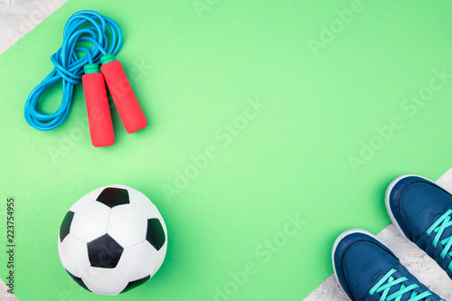 Fotografia  Soccer ball and jumping rope