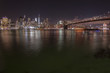 Night panoramic landscape view of Manhattan with the one world trade building, New York City.