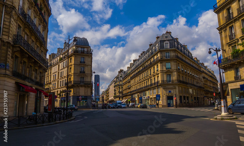 Crossroad of streets of Paris without tourists with a beautiful architecture and Canvas Print
