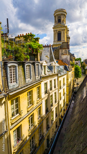 Beautiful view from the roof of the old building on the architecture of Paris, m Wallpaper Mural
