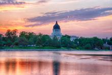 South Dakota Capital Building At Sunset