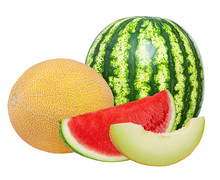 Fresh Watermelon And Melon Isolated On White Background With Clipping Path