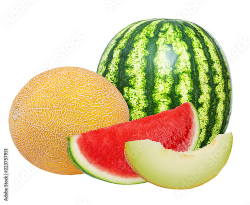 Fotografia Fresh watermelon and melon isolated on white background with clipping path