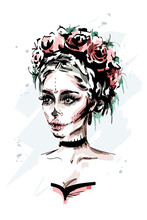 Hand Drawn Beautiful Young Woman With Santa Muerte Makeup. Stylish Halloween Look. Fashion Woman Portrait. Sketch.