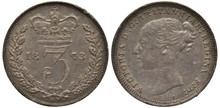Great Britain British Silver Coin 3 Three Pence 1873, Large Crowned Digit Divides Date, Oak Branches Flank, Younger Head Of Queen Victoria Left,