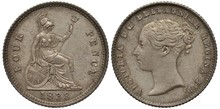 Great Britain British Silver Coin 4 Four Pence (groat) 1838, Sitting Britannia With Oval Shield And Trident, Date Below, Head Of Queen Victoria Left,