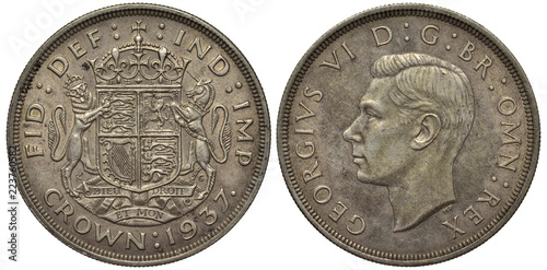 Great Britain British coin 1 one crown 1937, first year, crowned lion and unicor Canvas-taulu