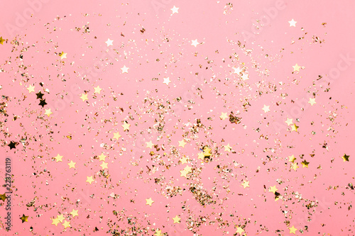 Pink festive confetti background. Bright background for celebration birthday.