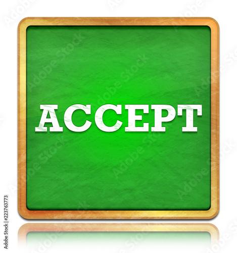 Fotografía  Accept green chalkboard square button