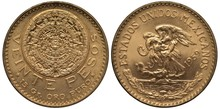 Mexico Mexican Golden Coin 20 Twenty Pesos 1959, Aztec Stone Calendar, Carving, Value And Purity Info Below, Eagle On Cactus Catching Snake, Sprigs With Ribbon Below,