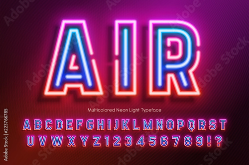 Neon light alphabet, extra glowing font design - Buy this