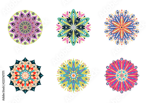 Obraz Set of vector mandalas. Colorful ethnic oriental circle folk ornament - fototapety do salonu