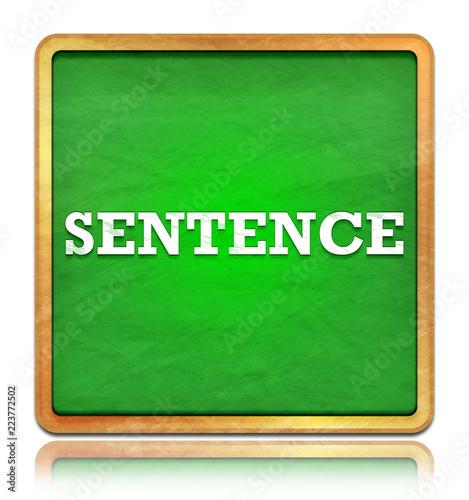Fotografia  Sentence green chalkboard square button