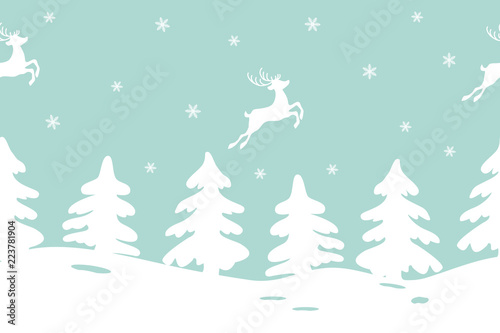 winter landscape with fir trees and deers seamless border it can be used for