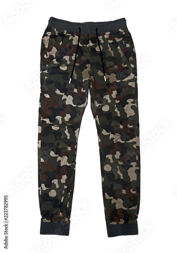 Camouflage military pants isolated on white background