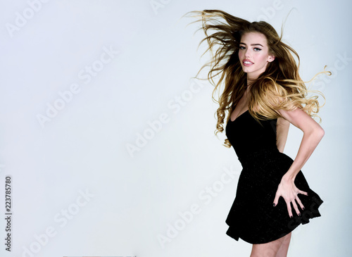 Beauty Model Girl With Long Flying Hairperfect Makeup In Black