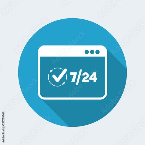 Fényképezés  7/24 full web services - Vector flat icon