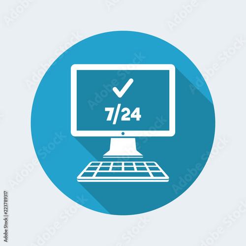 Fényképezés  7/24 computer check - Vector flat icon