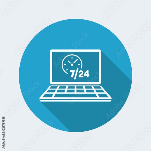 Fényképezés  Web services 7/24 fulltime - Vector flat icon