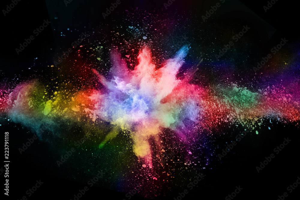 Fototapeta abstract colored dust explosion on a black background.abstract powder splatted background,Freeze motion of color powder exploding/throwing color powder, multicolored glitter texture. - obraz na płótnie