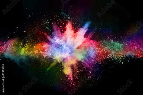 abstract colored dust explosion on a black background Wallpaper Mural
