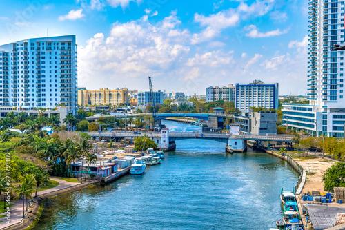 Miami River, aerial view, Florida, USA Slika na platnu