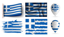 Set Of Greece Flags Collection...