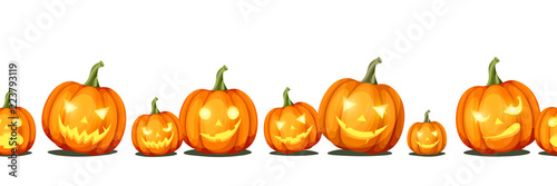 Cuadros en Lienzo Vector horizontal seamless background with jack-o'-lanterns (Halloween pumpkins)