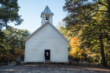 Old Wooden Church In Autumn Smoky Mountains