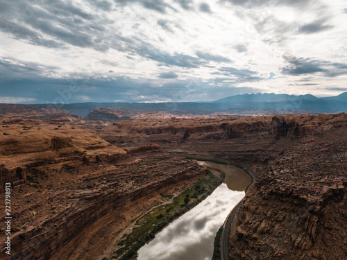 Landscape with Rock Formations in Utah and river