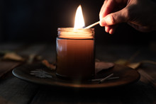Candle Being Lit With A Match