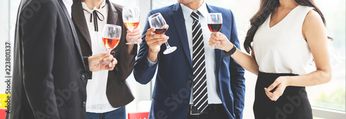 Obraz Business People Celebration Toast with red wine - fototapety do salonu
