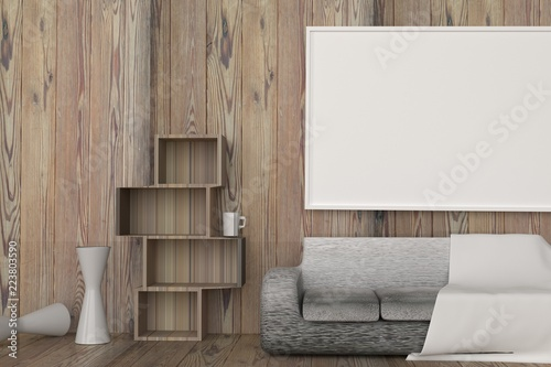 Interior wooden room with white picture frame and furniture,Mock up for display product,3D rendering