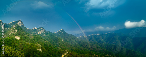 Photo  Great wall and rainbow