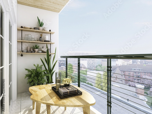 Fototapeta Modern balcony design, coffee table, green plants and glass railings, etc