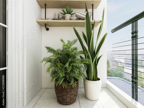 Modern Balcony Design Coffee Table Green Plants And Glass