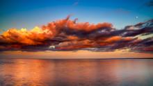Pink Dramatic Clouds Over Lake Superior Horizon