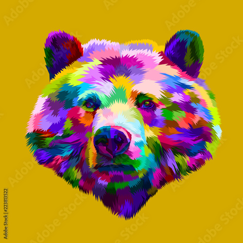 фотография  colorful bear head on pop art style
