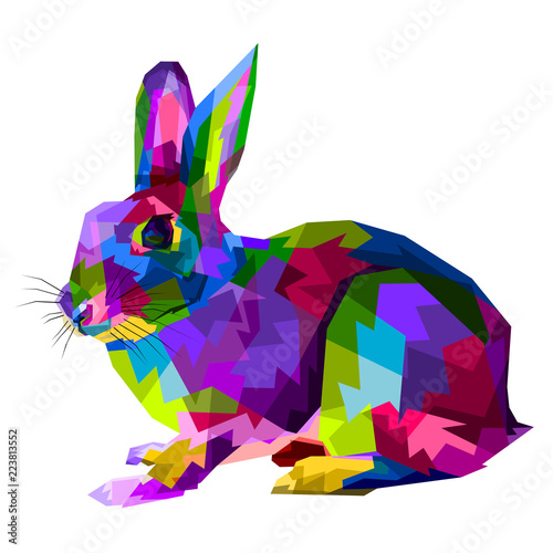 colorful rabbit on  pop art style фототапет