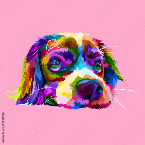 Платно  cute lazy dog heads in geometric pop art styles