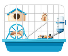 Cute Hamster Sit And Holding Nut, Another Hamster Running In Wheel. Hamster Cage, Wheel And Automatic Drinker. Cartoon Character Design. Flat Vector Illustration On White Background