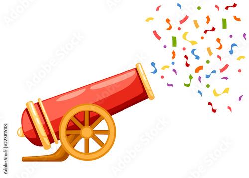 Ancient red cannon shots confetti Fototapete