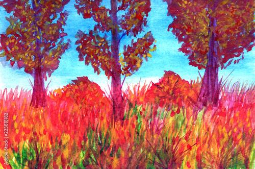 Poster Bordeaux Autumn trees in watercolor landscape.