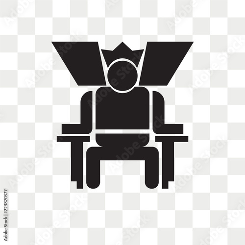King in his throne vector icon isolated on transparent background, King in his t Canvas Print