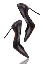 Elegant Black High-heeled Shoes. Black High-heeled Shoes On A White Background.