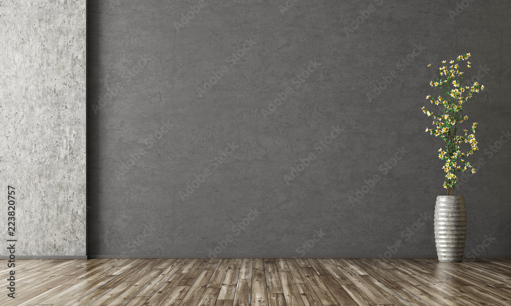Fototapeta Interior background of room with stucco wall and vase with branch 3d rendering